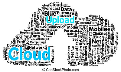 cargar, nube, formado, como, un, verdadero, nube, con, un, flecha, como, un, símbolo, de