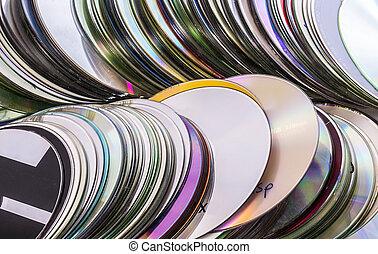 cargas, de, viejo, utilizado, cd, discos