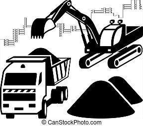 cargas, local construção, escavador, caminhão, entulho