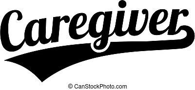 cargiver, palavra, estilo retro