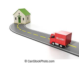 cargo., חינם, משלוח, illustration:, בית, תחבורה, 3d