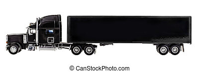 cargo - a black lorry model isolated over a white background