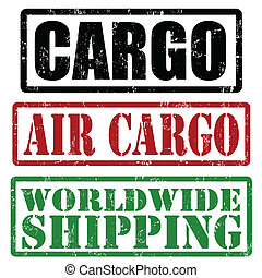 Cargo, air cargo and worldwide shipping stamps