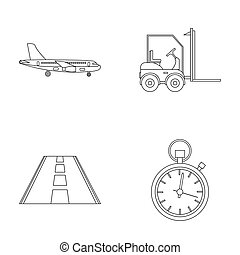 Cargo aircraft, forklift, stopwatch, road. Logistic set collection icons in outline style raster, bitmap symbol stock illustration web.