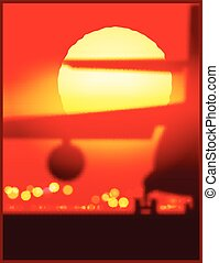 cargo airplane at the sunset - Vector illustration on the...