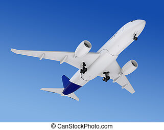 Cargo airplane flying in the sky