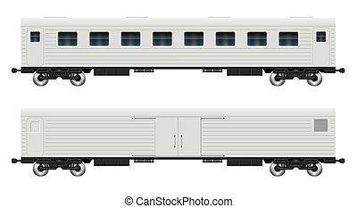 Cargo and passenger railroad cars vector illustration
