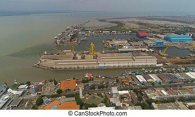 cargo and passenger seaport in surabaya, java, indonesia