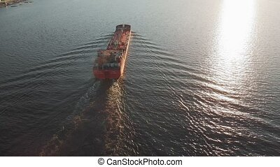 Cargo barge on the river in summer - Cargo barge red on the...