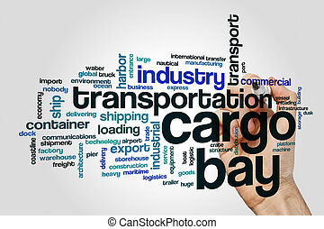 Cargo bay word cloud concept on grey background