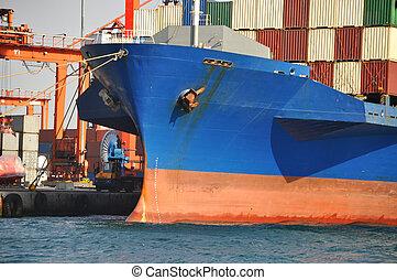 Cargo boat arrive Bosphorus Istanbul