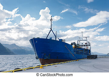Cargo boat in dock, Norway