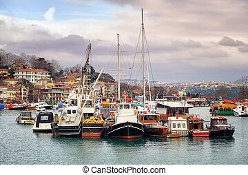 Cargo boats anchored in Istanbul, Turkey - Cargo boats...