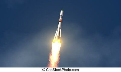 Cargo Carrier Rocket Launch. 3D Animation.