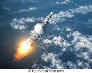 Cargo Carrier Rocket Launch In The Clouds. 3D Illustration.