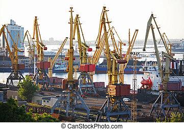 cargo, chargement, port, vue
