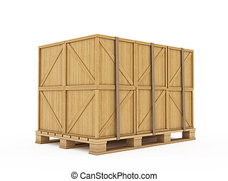 Cargo - 3d render of wooden boxes on palette isolated