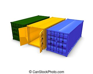 Cargo container - 3d render of cargo container, isolated...
