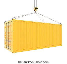 Cargo container - 3d render of cargo container with hook...