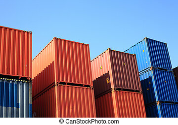 Cargo container and blue sky