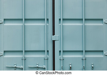 Cargo container doors in blue green tone. Delivery background