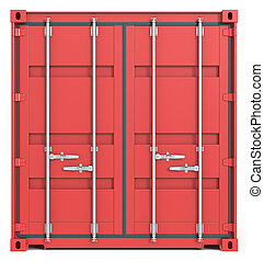 Red Cargo Container. Closed Doors. Front view.