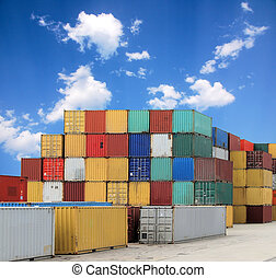 Cargo Container Harbor - Colorful container and a blue sky ...