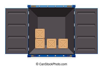 Illustration of cargo container and wood crate.