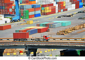Cargo container in port and truck