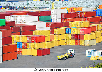 Cargo container in port