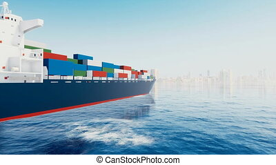 Cargo container ship and big port city on horizon