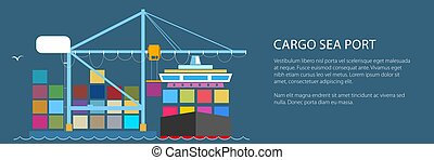Cargo Container Ship at Seaport - Cargo Container Ship and...