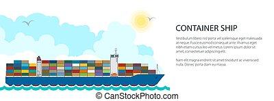 Cargo Container Ship Banner - Banner Cargo Container Ship ,...