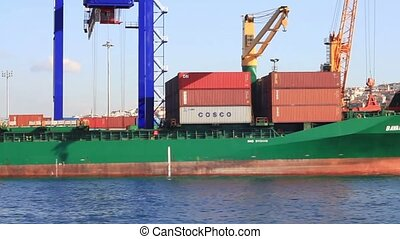 Container Ship with full of cargo docked in port
