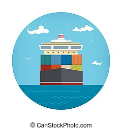 Cargo Container Ship Icon