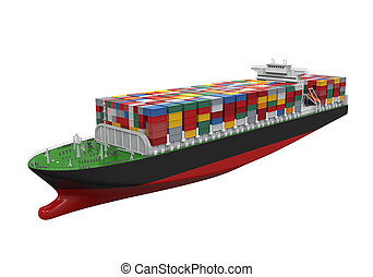 Cargo Container Ship Isolated on white background. 3D render
