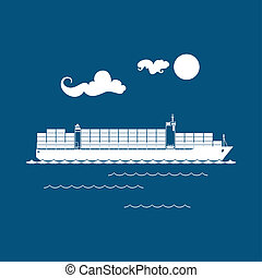 Cargo Container Ship Isolated on Blue