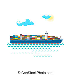 Cargo Container Ship Isolated on White