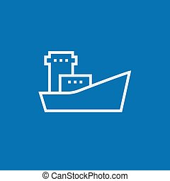 Cargo container ship line icon.