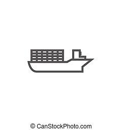 Cargo container ship line icon.