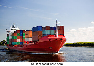 cargo container ship on river - cargo container ship -...