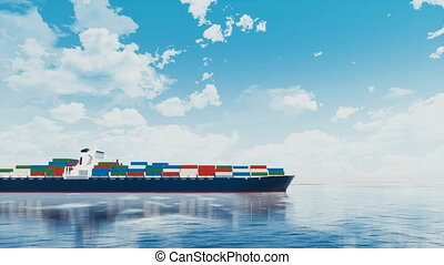 Cargo container ship passing by at open sea 4K - Side view...