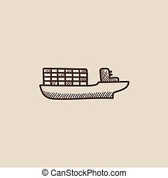 Cargo container ship sketch icon. - Cargo container ship...