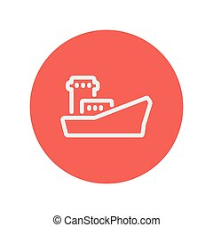 Cargo container ship thin line icon