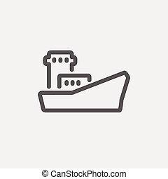 Cargo container ship thin line icon