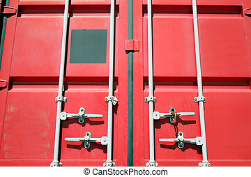 cargo container - close up of red cargo container