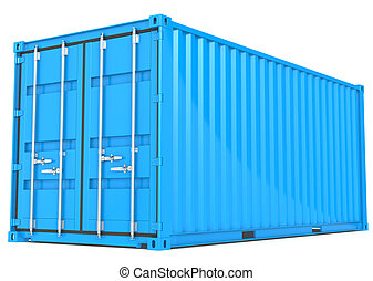 Cargo Container. - Blue Cargo Container. Perspective view.