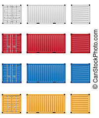 cargo container vector illustration isolated on white...
