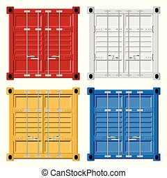 Cargo container vector illustration isolated on white background.