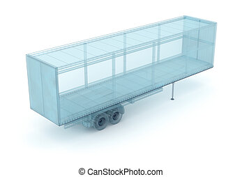 Cargo container, wire model. My own design, 3D illustration